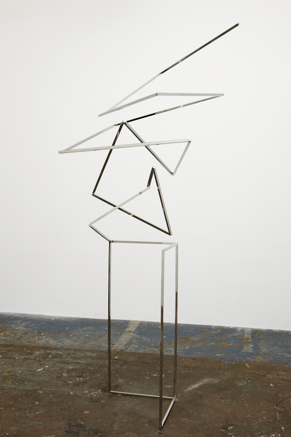 Untitled (Squiggle #1) Sculpture by Martin Oppel. Mirror Polished Stainless Steel. 90 x 36 x 30 inches.