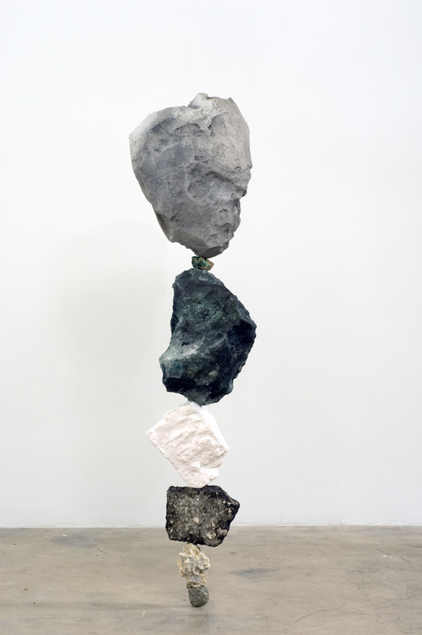 Untitled (Strata Fiction A) Sculpture by Martin Oppel. Pyrite, Oolite (Miami Limestone), Asphalt, Eps Foam, Plaster, Mica, Acrylic Paint, Malachite, Cement. 10 1/2 x 50 x 8 inches.