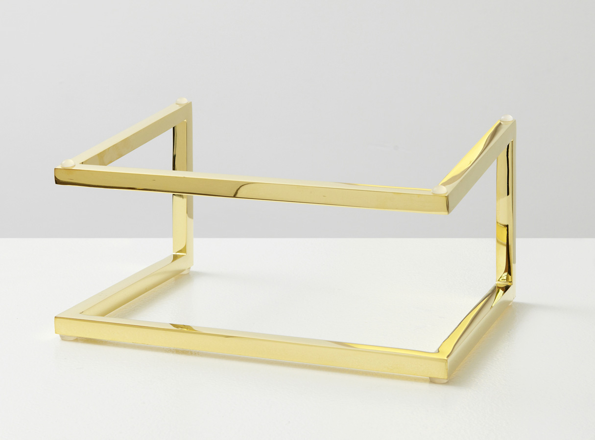 Laptop Stand Sculpture by Martin Oppel. Brass Gold Plated Steel.